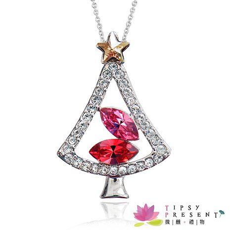 項鍊 施華洛世奇水晶元素 歡樂聖誕樹 項鍊 兩色 微醺 禮物