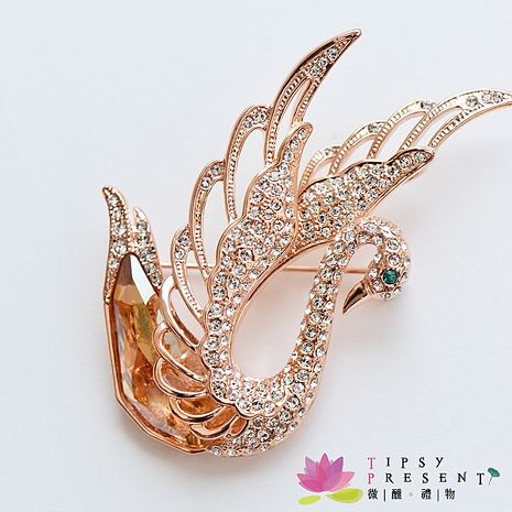 胸針 高級水鑽 合金鍍K金 高貴金色天鵝 胸針 微醺 禮物