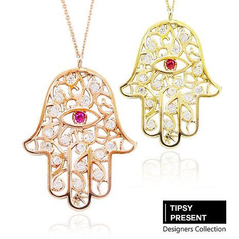 韓製 項鍊 頂級鋯石 銅鍍16K金 佛手 長鍊 項鍊 兩色 微醺 禮物玫瑰金