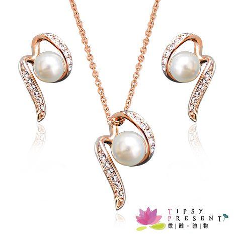 套組 人造珍珠 高級水鑽 珍愛宣言 耳環+項鍊 套組 微醺 禮物-服飾‧鞋包‧內著‧手錶-myfone購物