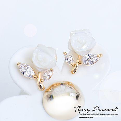 耳環 頂級鋯石 鍍16K金 貝殼玫瑰花 耳環