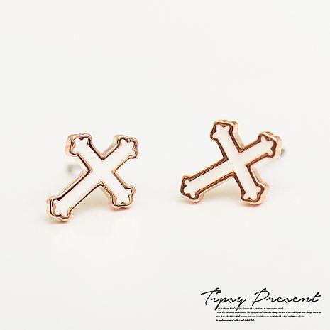 耳環 鍍18K金 白色十字架  耳環 微醺禮物
