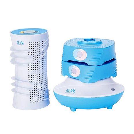 【GW 水玻璃】分離式直筒疊疊樂除濕機/海洋藍/四件組(2疊疊樂+1直立筒+1主機)