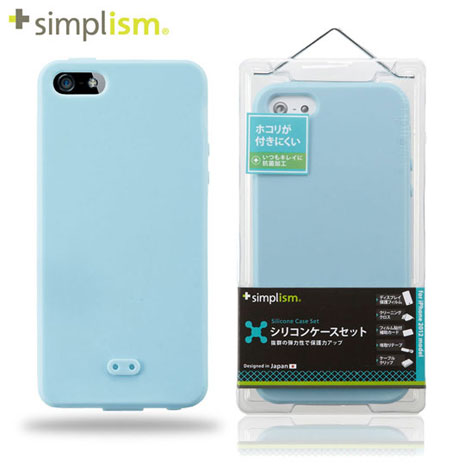 Simplism iPhone5 矽膠保護殼+保護貼-水藍 Aqua