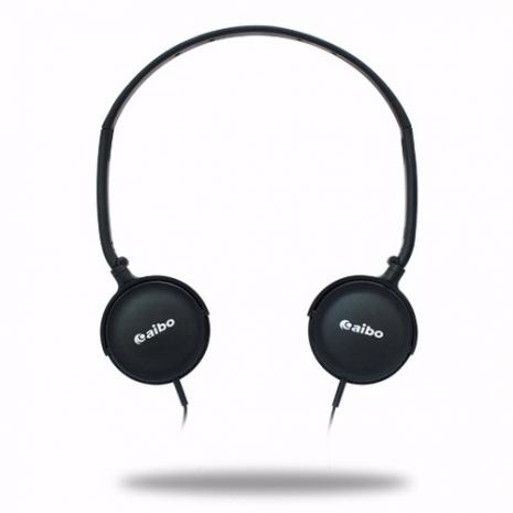aibo MP9000 繽紛頭戴型折疊耳機-黑色