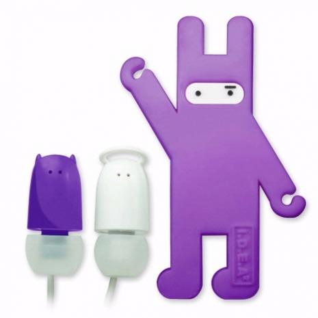 天使與惡魔造型耳塞式耳機(附捲線器)-紫色