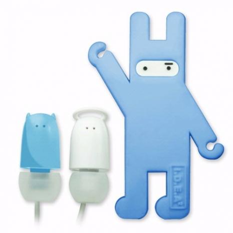 天使與惡魔造型耳塞式耳機(附捲線器)-藍色