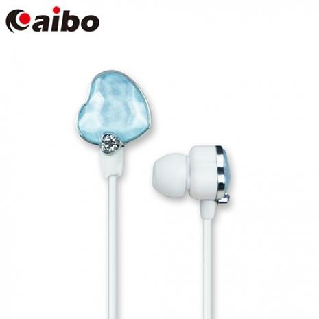 aibo ECHO 繽紛時尚鑽石耳機(愛心版)-粉藍
