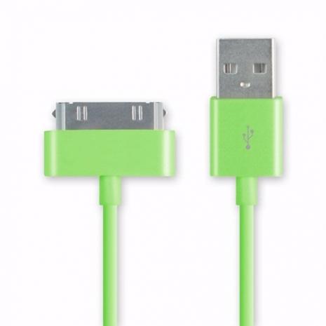 iPhone/iPod/iPad系列 彩色30pin USB傳輸線/充電線(1m) - 綠色
