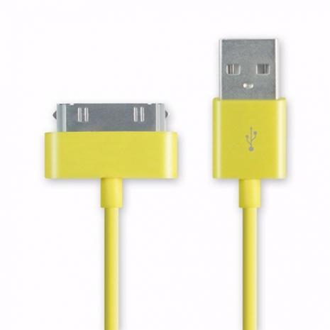 iPhone/iPod/iPad系列 彩色30pin USB傳輸線/充電線(1m) - 黃色