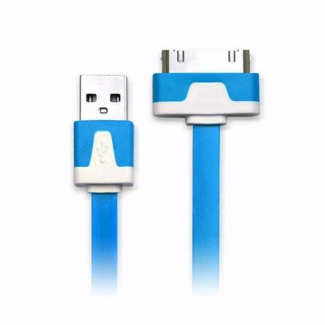 iPhone/iPod/iPad系列 30pin USB 充電/傳輸扁線(1M)-藍色