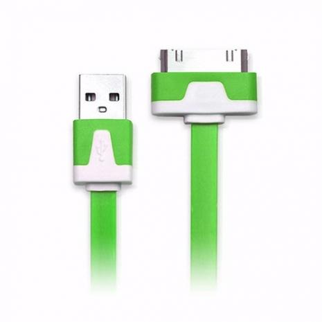 iPhone/iPod/iPad系列 30pin USB 充電/傳輸扁線(1M)-綠色