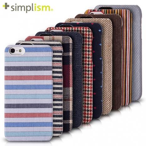 【福利品特賣】Simplism iPhone 5S 布面保護殼組紅藍橫條
