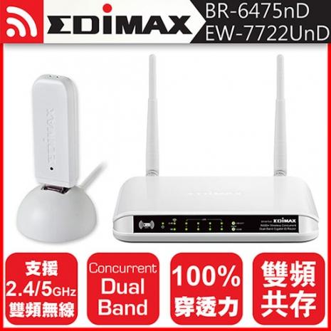 EDIMAX 訊舟 BR-6475nD 雙頻無線寬頻分享器+雙頻USB無線網路卡