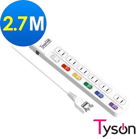 Tyson太順電業 TS-266AS 2孔6切6座延長線(轉向插頭)-2.7米