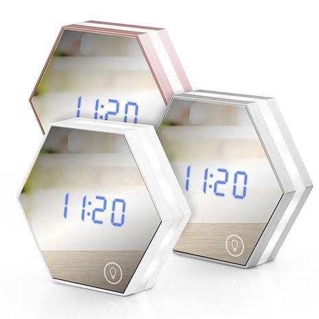 USB充電式 六角形可調光鏡子鬧鐘-手機平板配件-myfone購物