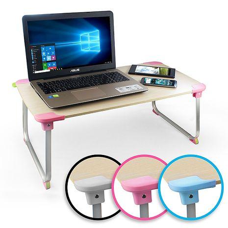 多功能輕量電腦折疊桌(XL加大)木紋白