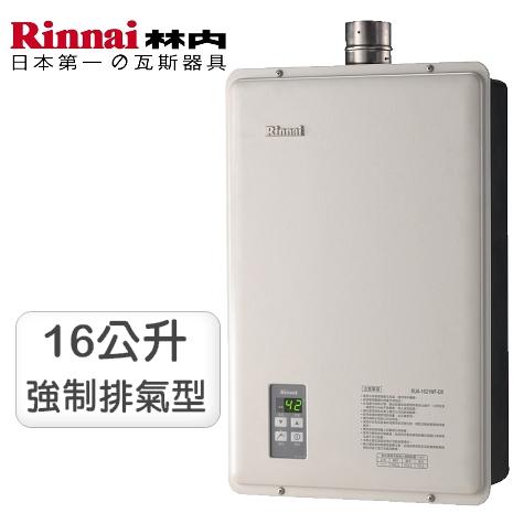 林內牌16公升強制排氣數位恆溫熱水器RUA-1621WF-DX(NG2/FE式)天然