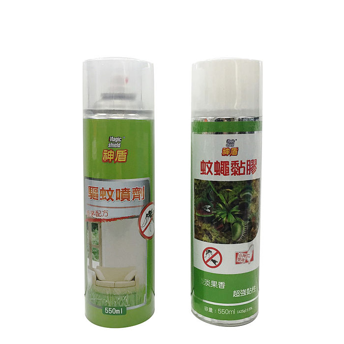 派樂神盾蚊蠅黏膠1入+驅蚊噴劑1入 各550ml 驅蚊 防蚊