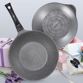 派樂-韓國進口Kitchen Art原石輕量鈦石鍋/不沾鍋雙鍋組28cm組(炒鍋+湯鍋+玻璃鍋蓋)-特賣