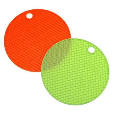 圓形隔熱矽膠鍋墊-2入(椪柑橘)