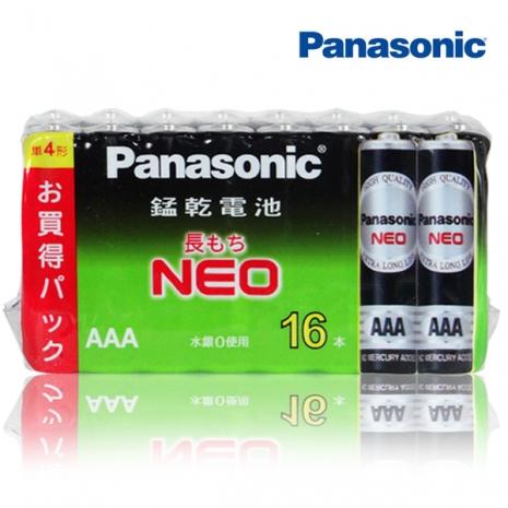 Panasonic 國際牌 黑錳乾電池 4號電池(AAA) 促銷組16入X6組
