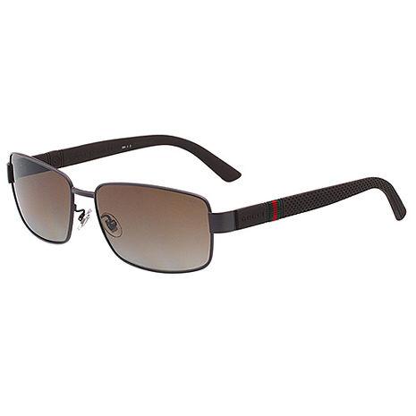 GUCCI-運動系列 偏光 太陽眼鏡(咖啡色)