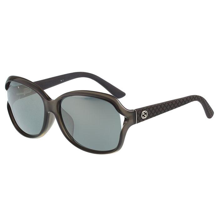 GUCCI- 低調簍空 太陽眼鏡 (透明灰)