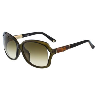 GUCCI-竹節太陽眼鏡(透明灰綠)