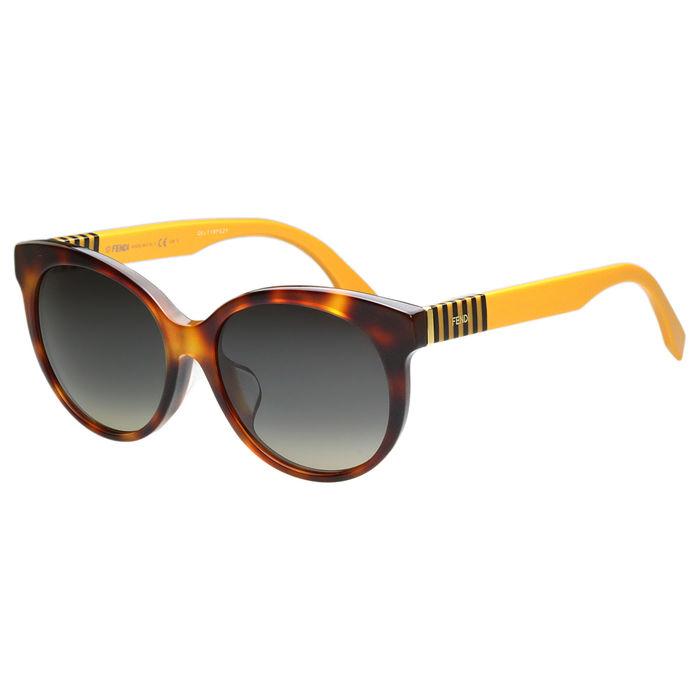 FENDI 圓面復古 太陽眼鏡 (琥珀色)