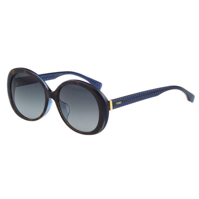 FENDI 圓面 時尚太陽眼鏡(琥珀框+藍腳)