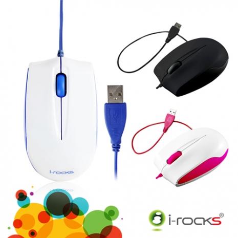 [福利品]i-Rocks S320 藍光有線滑鼠俏皮粉