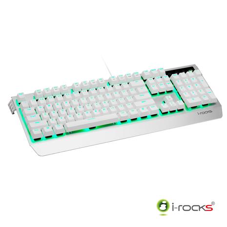 i-Rocks K60M全背光金屬機械式電競鍵盤(凱華青軸)-銀白