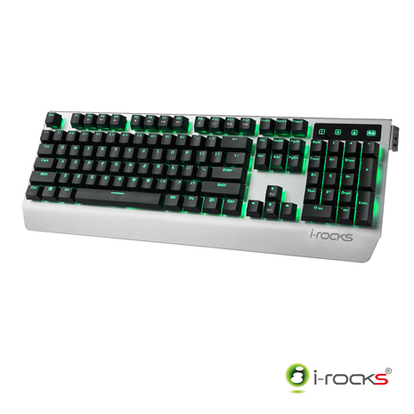 i-Rocks K60M全背光金屬機械式電競鍵盤(凱華青軸)-銀黑