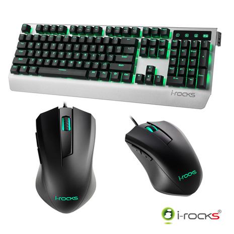 i-Rocks K60M機械式鍵盤(凱華青軸)-銀黑+M09遊戲滑鼠