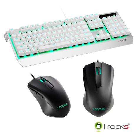 i-Rocks K60M機械式鍵盤(凱華青軸)-銀白+M09遊戲滑鼠