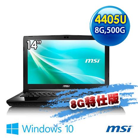 msi CR43 6M-014TW BBP440U4G50S10M 14吋 文書筆電 (Pentium 4405U/4G/500G/WIN10)8G特仕版
