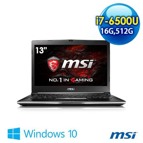 【電競瘋狂購】msi GS32 6QE(Shadow)-002TW-BB7650U16GXXDX10MH 13吋 電競筆電 (i7-6500U/16G/GTX950M/512G/WIN10)