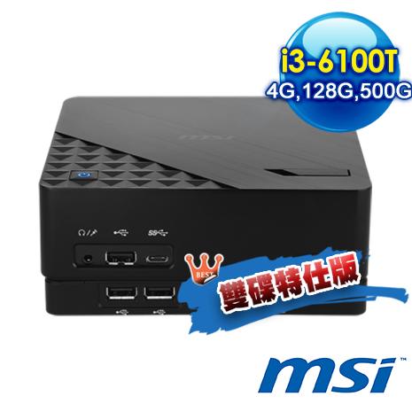 msi Cubi 2 Plus-005XTW-B3610T4GXXX 迷你電腦 (i3-6100T/4G/128G+500G/NO OS)雙碟特仕版-數位筆電.列印.DIY-myfone購物