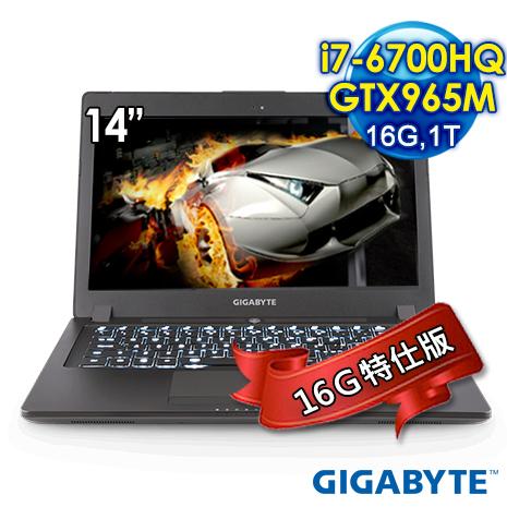 GABYTE 技嘉 P34KV5-2K7670H8GH1W10(14吋/i7-6700HQ/16GB/1TB/GTX965M/Win10)16G特仕版