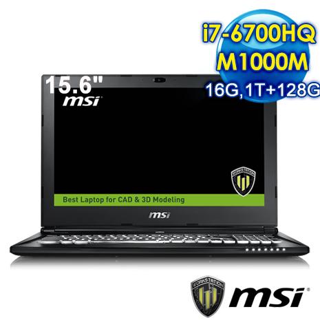 msi WS60 6QI-297TW-BB7670H16G1T0DX10PP 15.6吋 行動工作站(i7-6700HQ/M1000M/16G/1T+128G/WIN10)