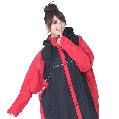 BrightDay風雨衣連身式 - MIT蜜絲絨前開款 黑/紅XL