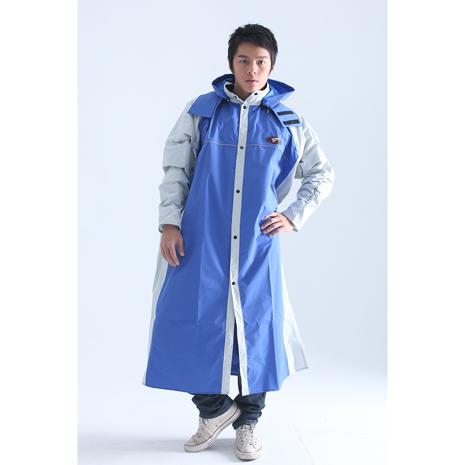 BrightDay風雨衣連身式 - MIT蜜絲絨前開款 藍/米灰3XL