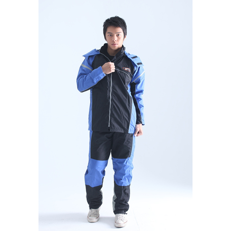 BrightDay風雨衣兩件式 - MIT蜜絲絨重機款 率性藍2XL