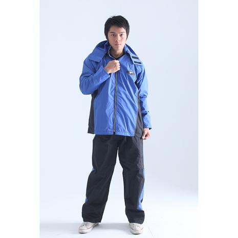 BrightDay風雨衣兩件式 - MIT蜜絲絨休閒款 率性藍XL