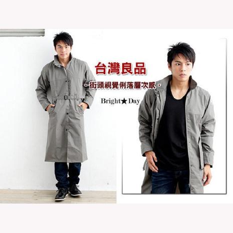 BrightDay風雨衣連身式 - 立領排釦大衣款 橄欖灰XL