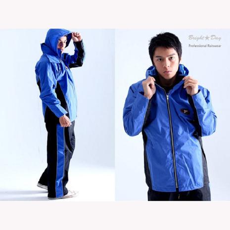BrightDay風雨衣兩件式 - MIT蜜絲絨休閒款(刷毛內裡) 率性藍XL