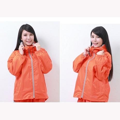 BrightDay風雨衣單件式 - 日系刷毛潮流款 桔S