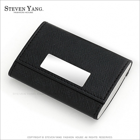STEVEN YANG【KEB007】高質感雙面皮革名片盒 經典必備 兩款任選*單個價格* 送單面刻字(B.白線直式)