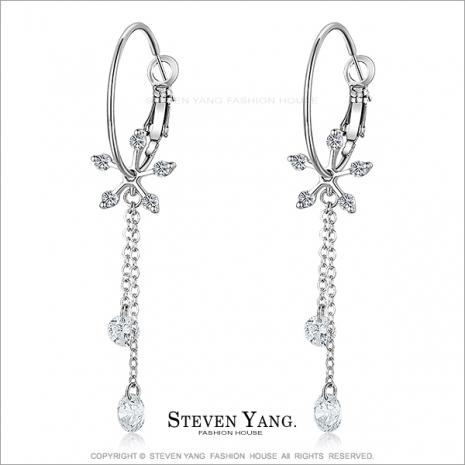 STEVEN YANG【KG3030】正白K飾「閃耀光芒」耳針式耳環 白鋯款 *一對價格* 玩美聖誕